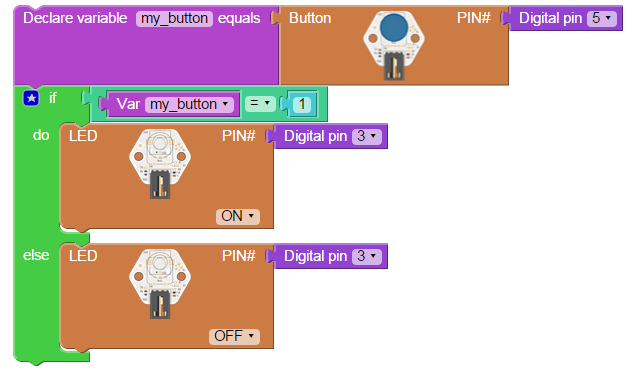how to make button turn on and off led